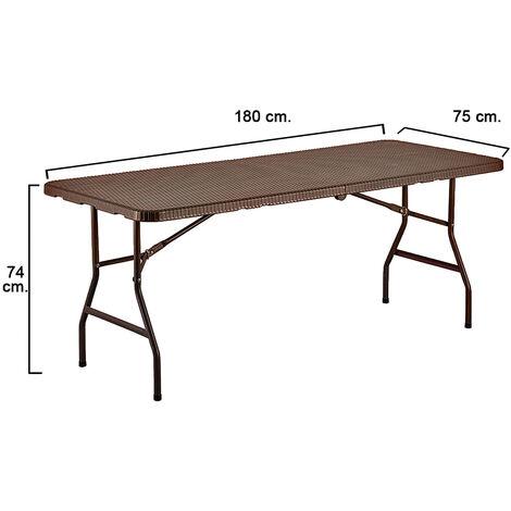 Mesa plegable rectangular marron 180 x 75 x 74 cm.