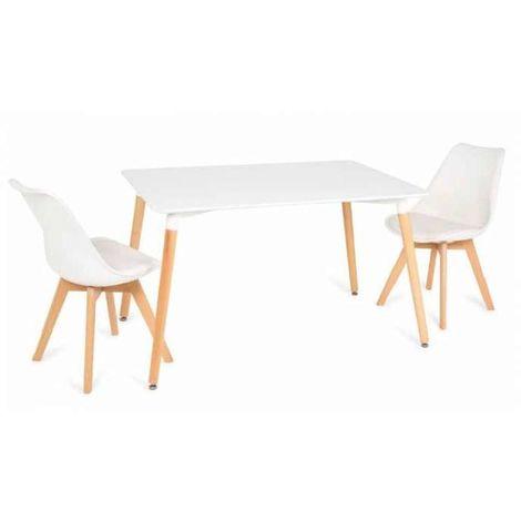 Mesa rectangular blanca modelo Vandyk