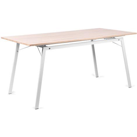 Mesa rectangular blanco madera MDF mesa comedor salon cocina 160x80x75cm