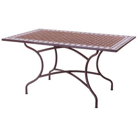 Mesa rectangular hierro/mosaico Persea