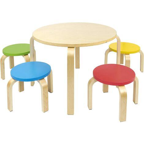 Mesa redonda de madera para niños más 4 sillas de colores