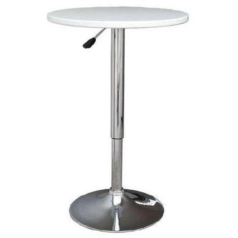 Mesa redonda elevable color blanco y base cromada Color Blanco
