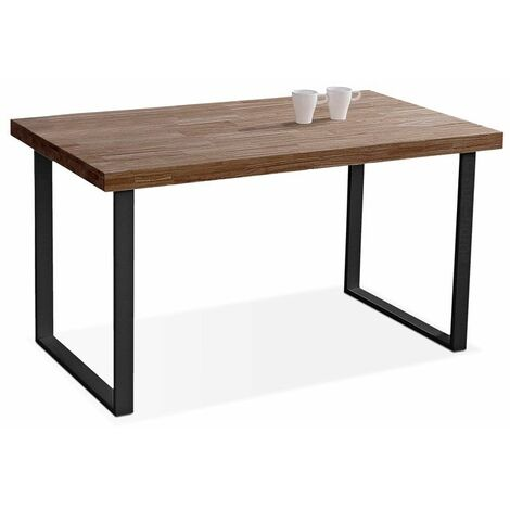 Mesa salon fija color roble salvaje estructura blanca o negra.