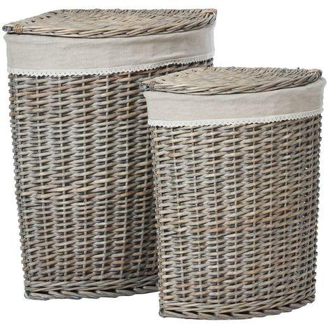Mesa Set of 2 Corner Laundry Baskets,Willow/Fabric Lining