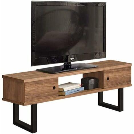 Mesa television, Mueble TV salon diseno Industrial-Vintage, 2 Puertas y Estante, Madera Maciza Natural, Patas Metalicas.