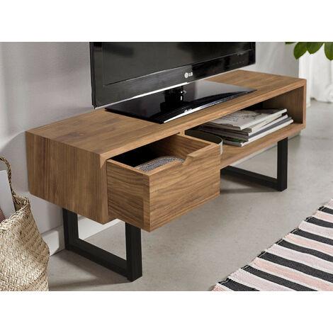 Mesa televisión Mueble TV salón diseño Industrial-Vintage cajón y Estante Madera Maciza Natural Patas Metálicas.
