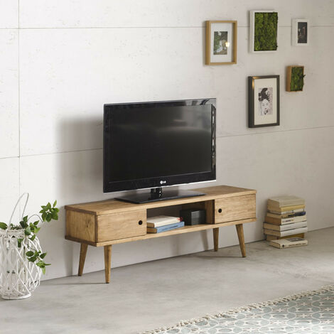 Mesa televisión mueble tv salón diseño vintage 2 puertas y estante madera maciza natural fabricación artesanal