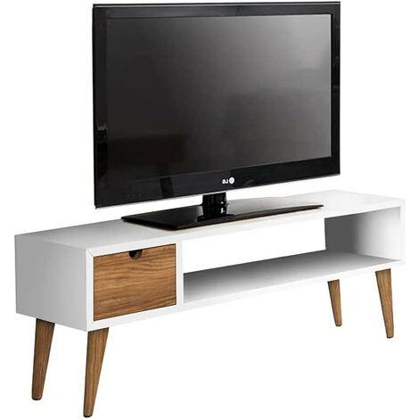 Mesa television, mueble tv salon diseno vintage, cajon y estante, color blanco. Medidas 100 cm x 40 cm x 30 cm