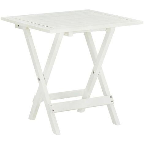 Mesa terraza bistró madera maciza de acacia blanco 46x46x47 cm - Blanco