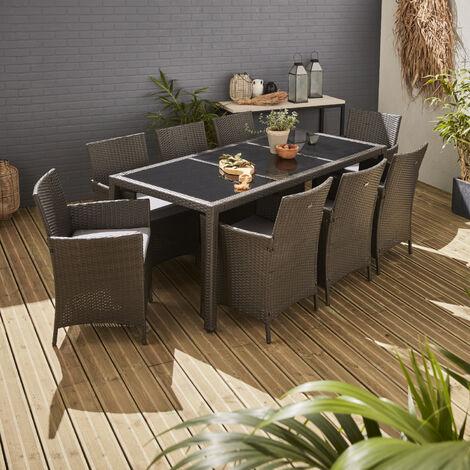 Mesa terraza, Conjunto de jardin, Gris, 8 plazas - Tavola 8