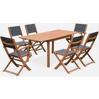 Mesa terraza, Conjunto de jardin, Madera y textileno antracita, 6 plazas | Almeria 180