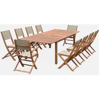 Mesa terraza, Conjunto de jardín, Madera y textileno Gris, 10 plazas, | Almeria 300