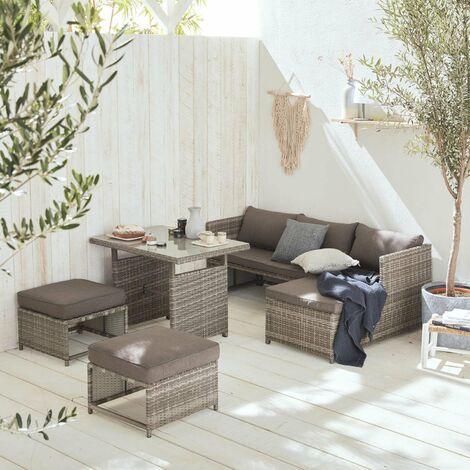 Mesa terraza, Conjunto de jardín, Varios tonos de grises, 6 plazas | Reggiano