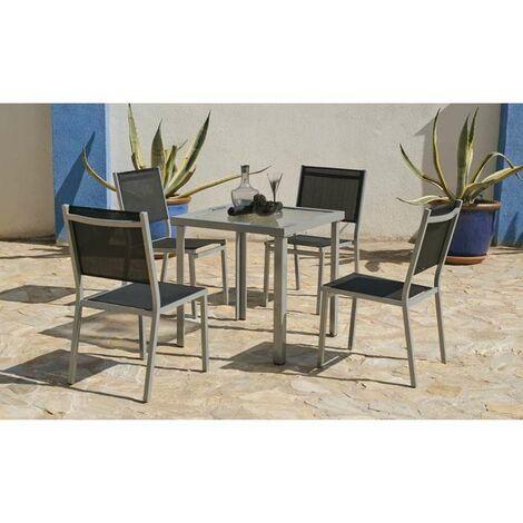 Mesa terraza jardín aluminio Perseo-707 plata 75 cm(alto) 70 cm(ancho) 70 cm(fondo)