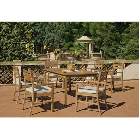 Mesa terraza jardín cuadrada teka Mindoro-150 cm(ancho) 75 cm(altura) 150 cm(fondo)