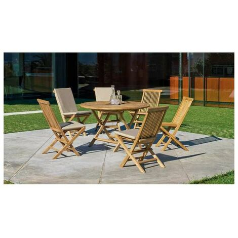 Mesa terraza jardín redonda plegable teka Seroni-100 cm(ancho) 75 cm(altura)