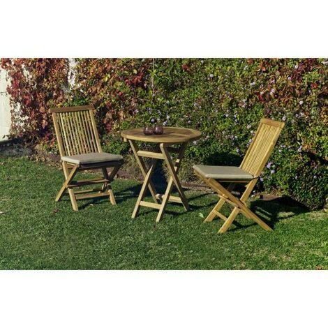 Mesa terraza jardín redonda plegable teka Seroni-70 cm(ancho) 75 cm(altura)