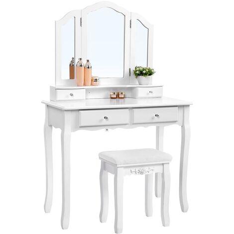 Mesa Tocador para Maquillaje, Bucólico Blanco con Espejo Plegable, con Taburete y 4 Cajones RDT07W