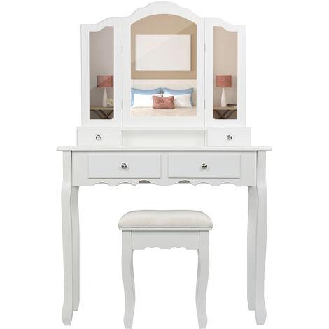 Mesa Tocador para Maquillaje, Bucólico Blanco Espejo Plegable+ Taburete, con 4 Cajones 145 x 90 x 40CM