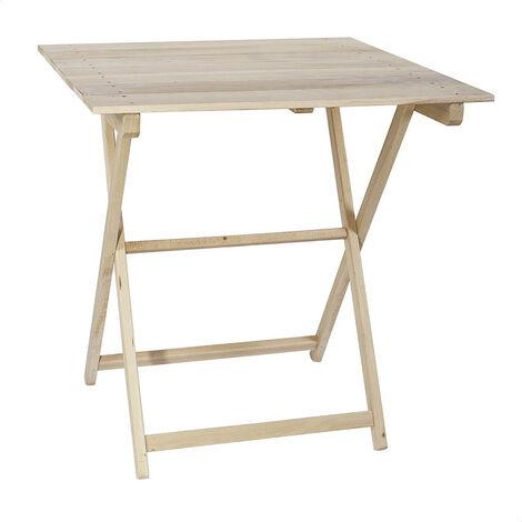 Mesa velador plegable tablillas madera de haya 70x70 sin barniz