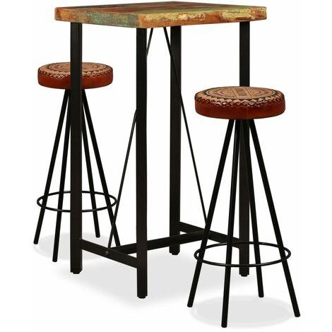Mesa y 2 taburetes bar madera maciza reciclada cuero real lona