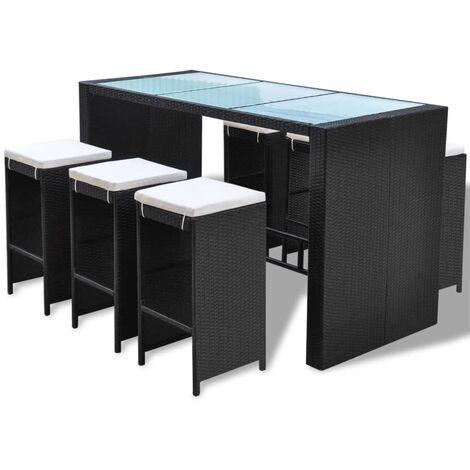 Mesa y sillas bar de jardín 7 pzas y cojines poli ratán negro