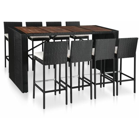 Mesa y sillas bar jardín 9 pzas ratán sintético y madera negro