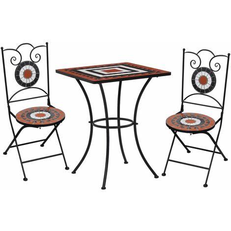 Mesa y sillas bistró 3 pzas mosaico cerámica terracota y blanco