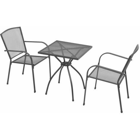 Mesa y sillas bistró de jardín 3 piezas acero gris antracita