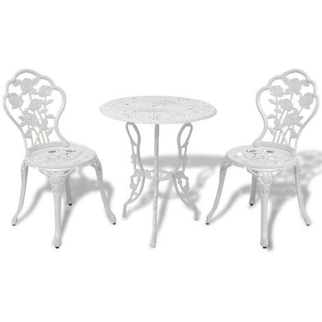 Mesa y sillas bistró de jardín 3 piezas aluminio fundido blanco