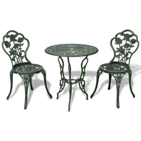 Mesa y sillas bistró de jardín 3 piezas aluminio fundido verde