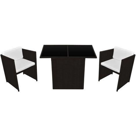 Mesa y sillas bistró jardín 3 pzas y cojines poli ratán marrón