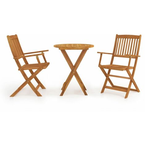Mesa y sillas bistró plegables 3 pzas madera maciza de acacia