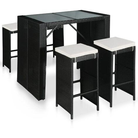Mesa y sillas de bar de jardín 5 pzas ratán sintético y cristal