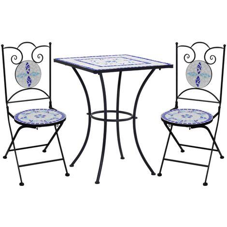 Mesa y sillas de bistró 3 piezas mosaico cerámica azul y blanco