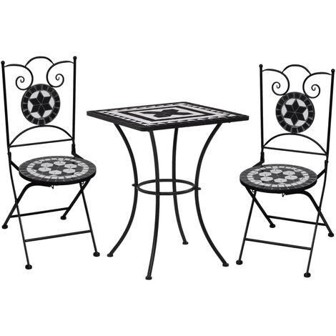 Mesa y sillas de bistró 3 pzas mosaico cerámica negro y blanco