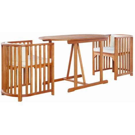Mesa y sillas de jardín 3 piezas y cojines madera de eucalipto