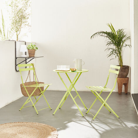 Mesa y sillas de jardin cuadrada, rosa, 2 plazas | Emilia | Alice's Garden - Verde anis pastel