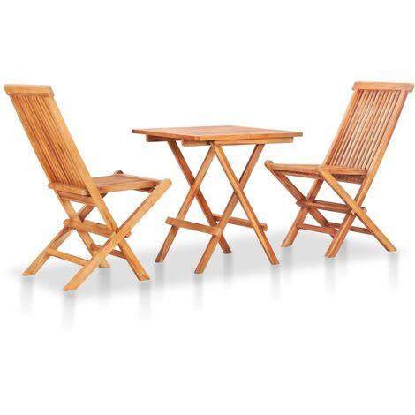 Mesa y sillas de jardín plegables 3 pzas madera maciza de teca