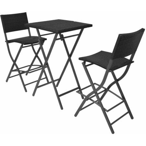 Mesa y sillas de jardín plegables 3 pzs acero poli ratán negro