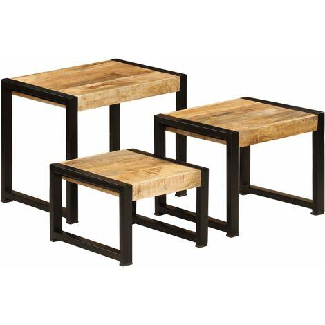 Mesas apilables 3 unidades madera maciza de mango