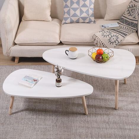 Mesas auxiliares nórdicas -Juego de 2 mesas de café para Sofá Salón Dormitorio Blanco