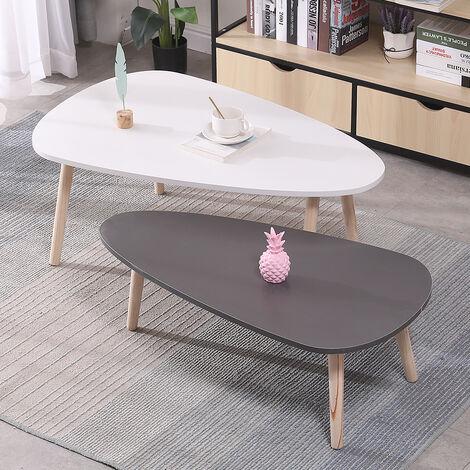 Mesas auxiliares nórdicas -Juego de 2 mesas de café para Sofá Salón Dormitorio Blanco y Gris