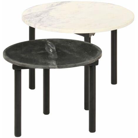 Mesas de centro 2 piezas negro y blanco - Multicolor
