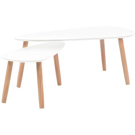 Mesas de centro 2 unidades madera maciza de pino blanco