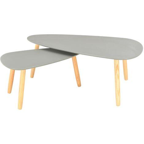 Mesas de centro 2 unidades madera maciza de pino gris