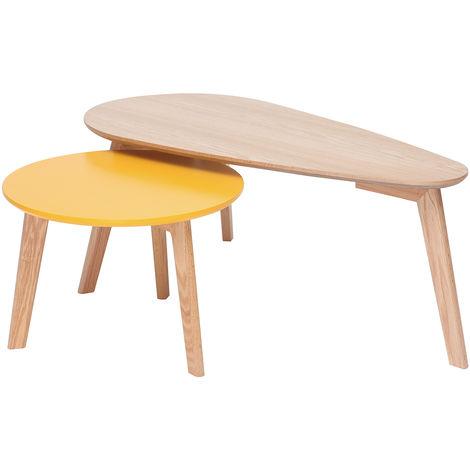 Mesas de centro nórdicas roble y amarillo (lote de 2) ARTIK