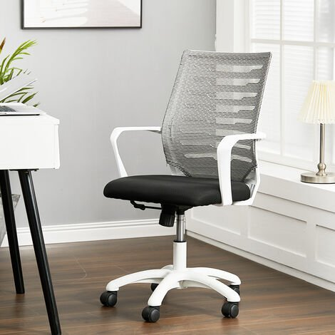 Mesh Computer Desk Chair Home Office Ergonomic Swivel Chair Study Gaming Chair,Black and White