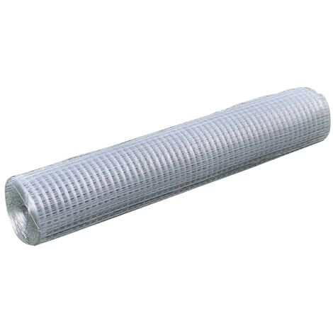 Mesh Fence Galvanised Steel Square 1x25 m Silver
