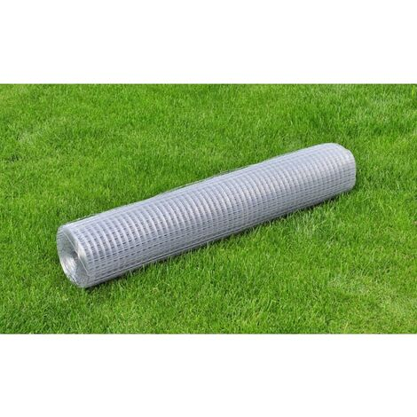 Mesh Fence Galvanised Steel Square 1x25 m Silver - Silver